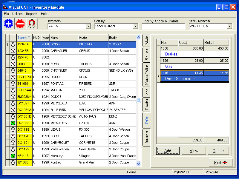 VCAT: F&I Software Expenses and Repairs Screen