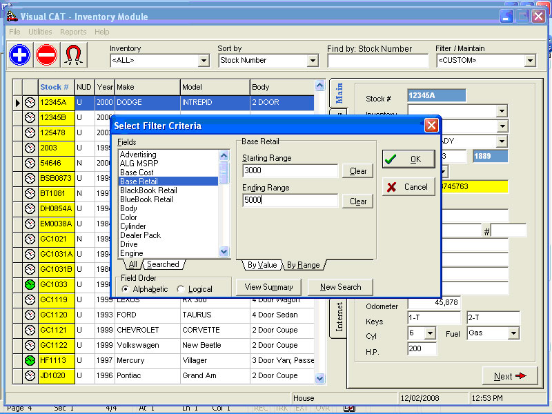 VCAT: F&I Software Inventory Filter Screen