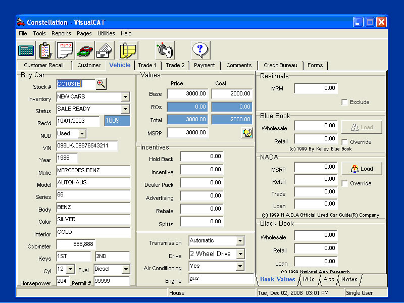 VCAT: F&I Software Inventory Sub-Tab Screen